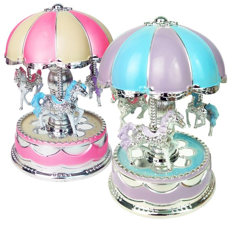 1X-Merry-Go-Round-Carousel-Music-Box-Toy-Swivel-Glowing-Carousel-Horse-Elec2G3 thumbnail 6