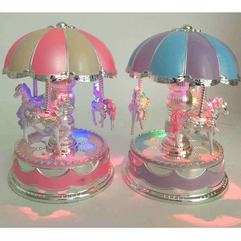 1X-Merry-Go-Round-Carousel-Music-Box-Toy-Swivel-Glowing-Carousel-Horse-Elec2G3 thumbnail 7