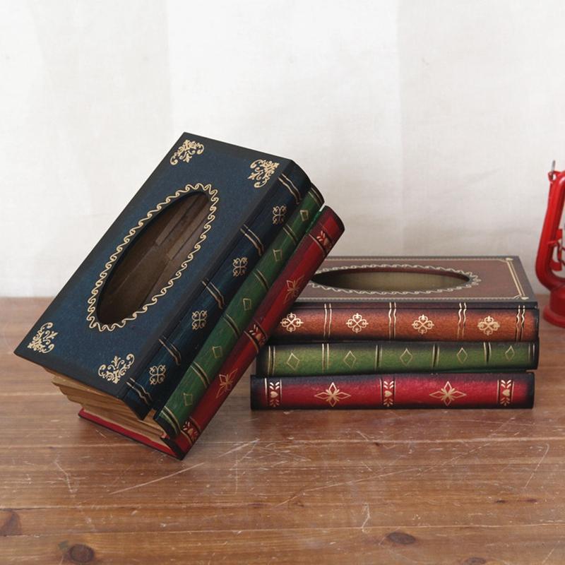 Home Decorat: 2X(Retro Style Continental Books Tissue Box Classic Book