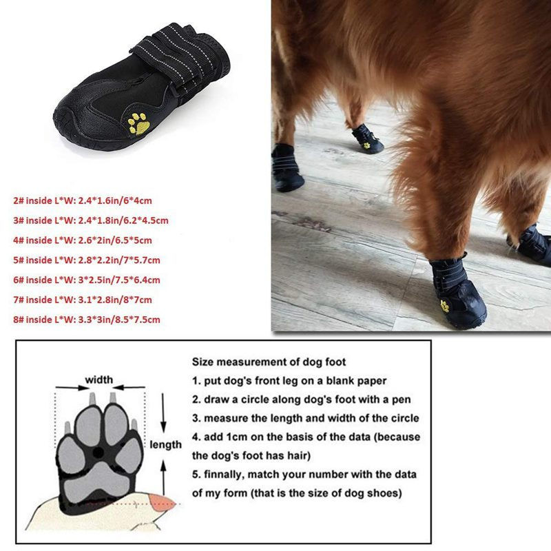 8XWaterproof Dog scarpe Breathable Paws Paws Paws Prossoector AntiSkid Dog stivali withH5U5 0d9603