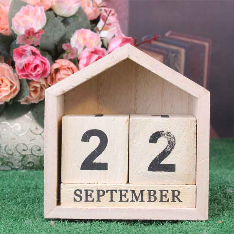 Calendario-Perpetuo-En-Forma-De-La-Casa-De-Diseno-Vintage-Bloque-De-Madera-I9D2 miniatura 3
