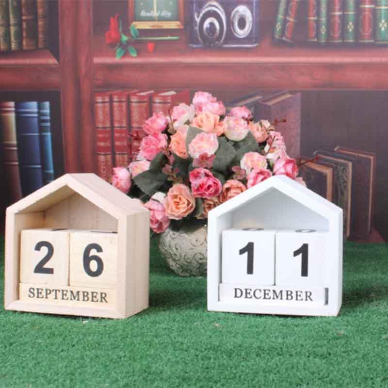 Calendario-Perpetuo-En-Forma-De-La-Casa-De-Diseno-Vintage-Bloque-De-Madera-I9D2 miniatura 4