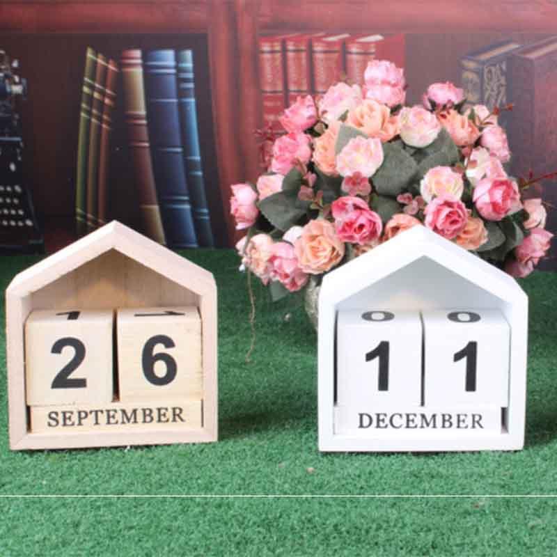 Calendario-Perpetuo-En-Forma-De-La-Casa-De-Diseno-Vintage-Bloque-De-Madera-I9D2 miniatura 5