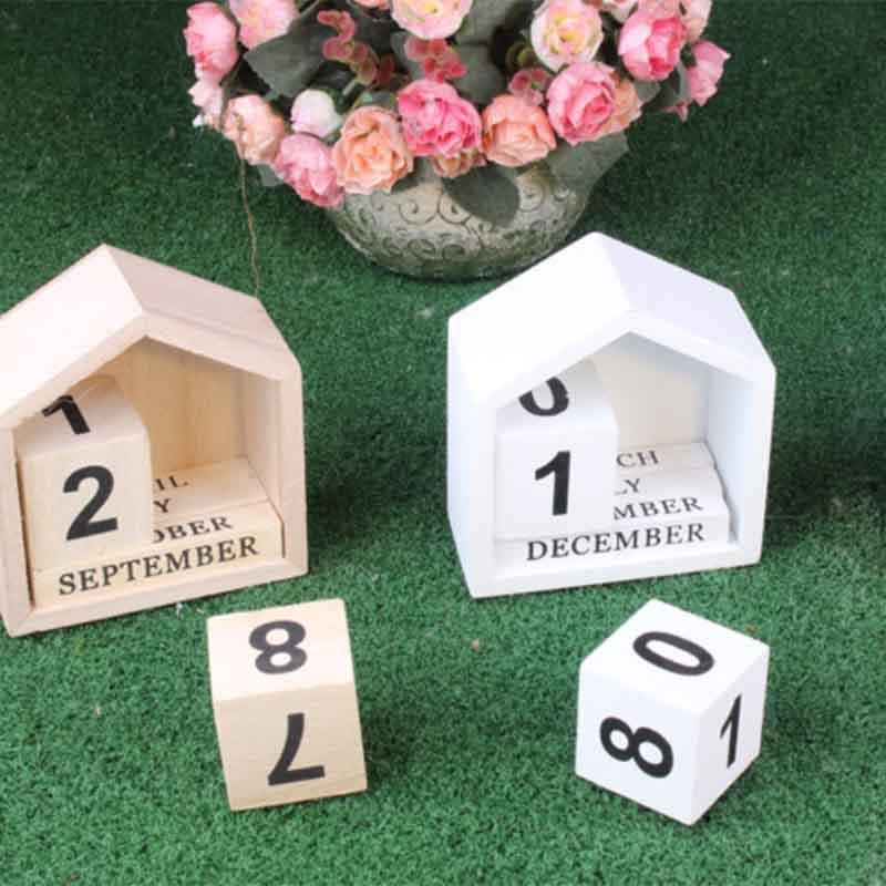 Calendario-Perpetuo-En-Forma-De-La-Casa-De-Diseno-Vintage-Bloque-De-Madera-I9D2 miniatura 6
