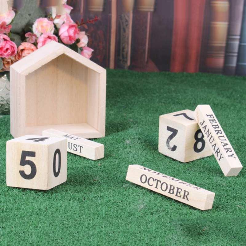 Calendario-Perpetuo-En-Forma-De-La-Casa-De-Diseno-Vintage-Bloque-De-Madera-I9D2 miniatura 7