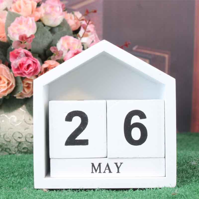 Calendario-Perpetuo-En-Forma-De-La-Casa-De-Diseno-Vintage-Bloque-De-Madera-I9D2 miniatura 9