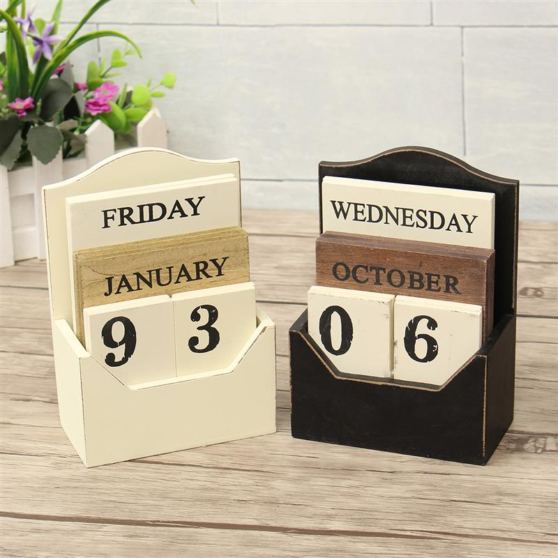 1X-Wood-Desk-Calendar-Retro-Vintage-Wood-Block-Perpetual-Calendar-Wooden-En8K9 thumbnail 3