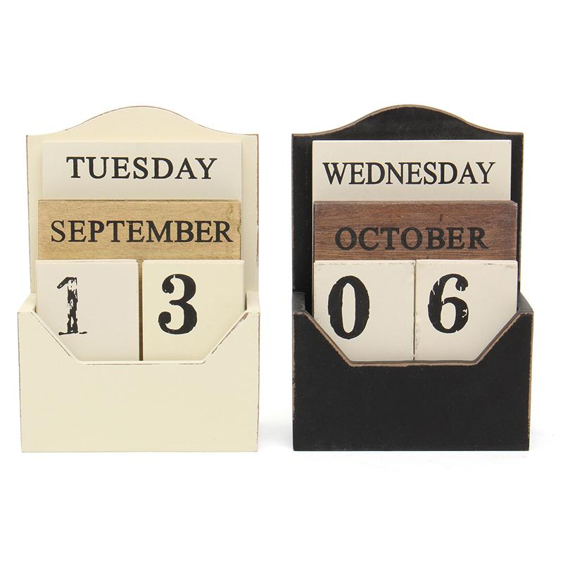 1X-Wood-Desk-Calendar-Retro-Vintage-Wood-Block-Perpetual-Calendar-Wooden-En8K9 thumbnail 4