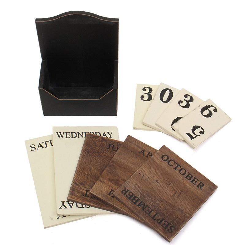 1X-Wood-Desk-Calendar-Retro-Vintage-Wood-Block-Perpetual-Calendar-Wooden-En8K9 thumbnail 5