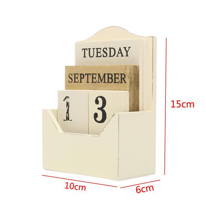 1X-Wood-Desk-Calendar-Retro-Vintage-Wood-Block-Perpetual-Calendar-Wooden-En8K9 thumbnail 6