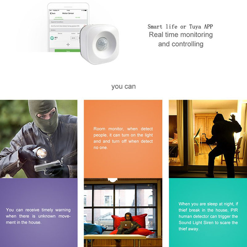 Wifi-Motion-Sensor-Pir-Intelligent-Remote-Wireless-Door-Detector-For-Ios-An-Z7N9 thumbnail 6