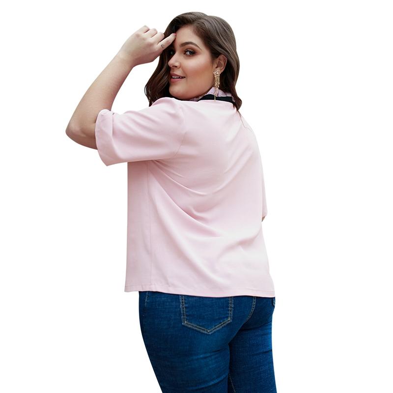 Veste-Chemisier-Elegant-De-Grande-Taille-Pour-Femmes-Chemisier-Rose-A-Noeud-X4W1 miniature 7