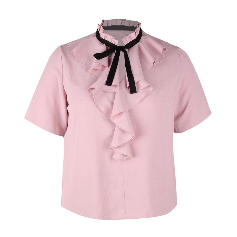 Veste-Chemisier-Elegant-De-Grande-Taille-Pour-Femmes-Chemisier-Rose-A-Noeud-X4W1 miniature 8