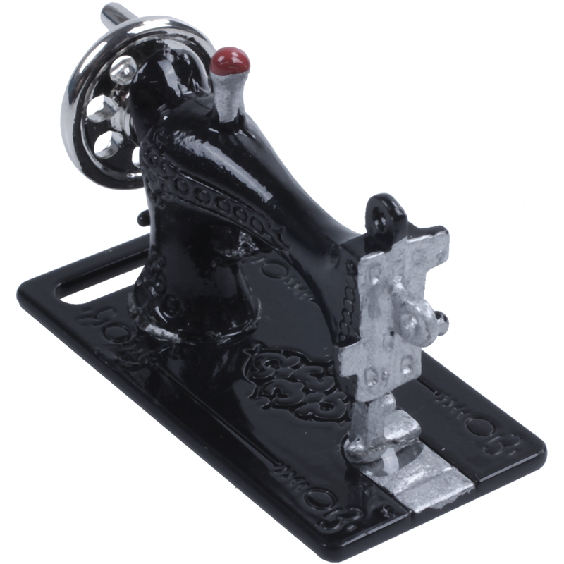Metal Sewing Machine Dollhouse Miniatures 1:12 Scale Length 3.5cm Black H7U7