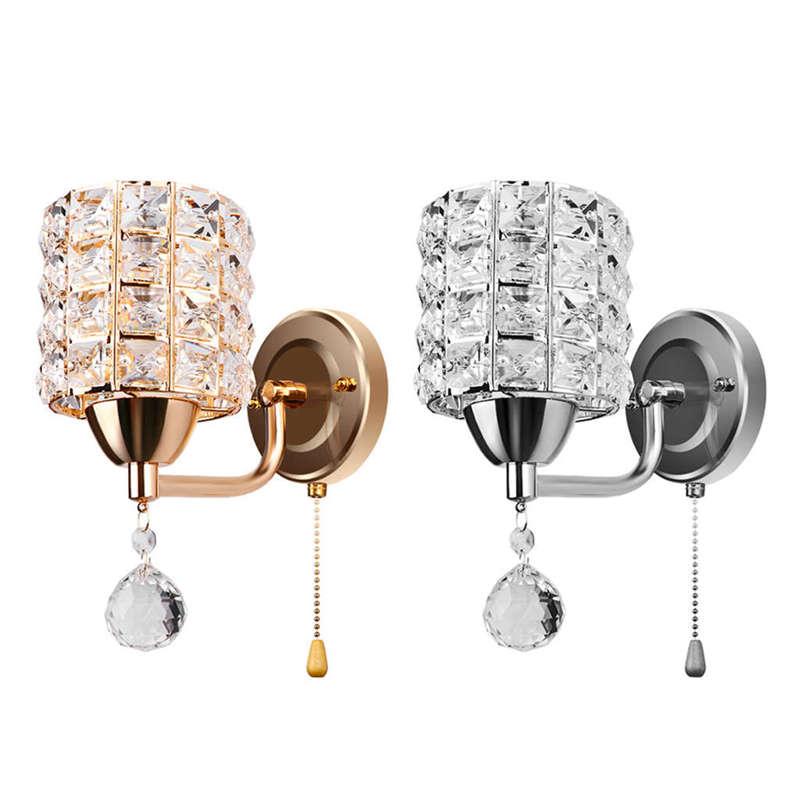 Moderne-Wand-Leuchte-Zylinder-Kristall-Halter-Mit-Anhaenger-Und-Zug-Schalter-E5U2 Indexbild 3