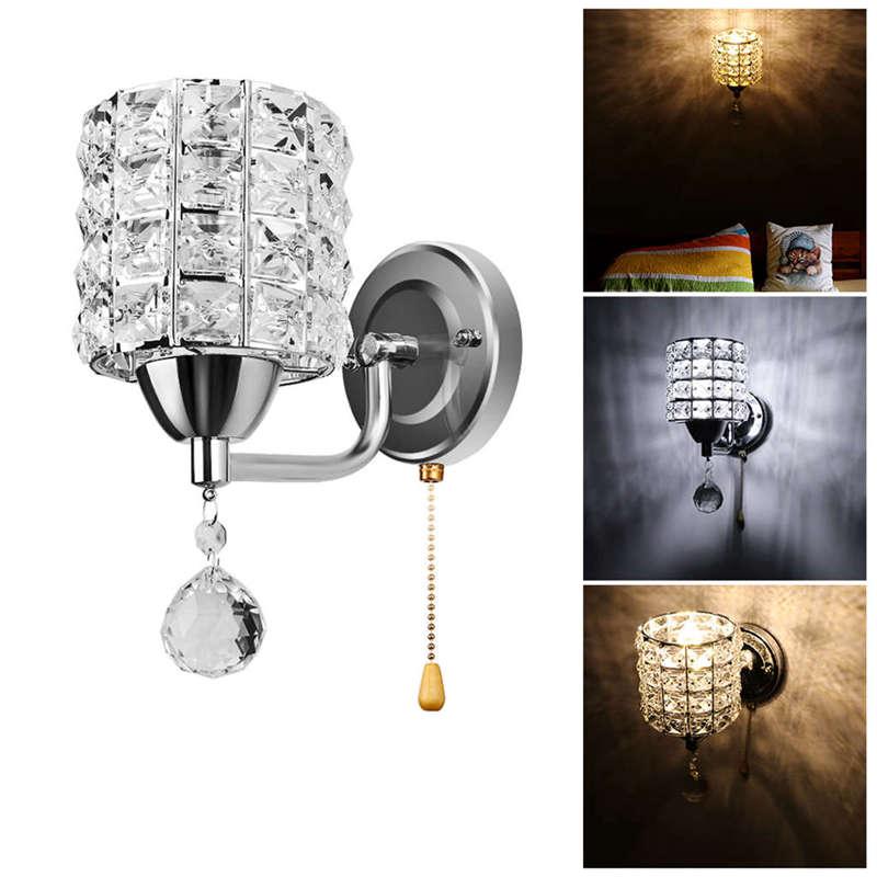 Moderne-Wand-Leuchte-Zylinder-Kristall-Halter-Mit-Anhaenger-Und-Zug-Schalter-E5U2 Indexbild 6