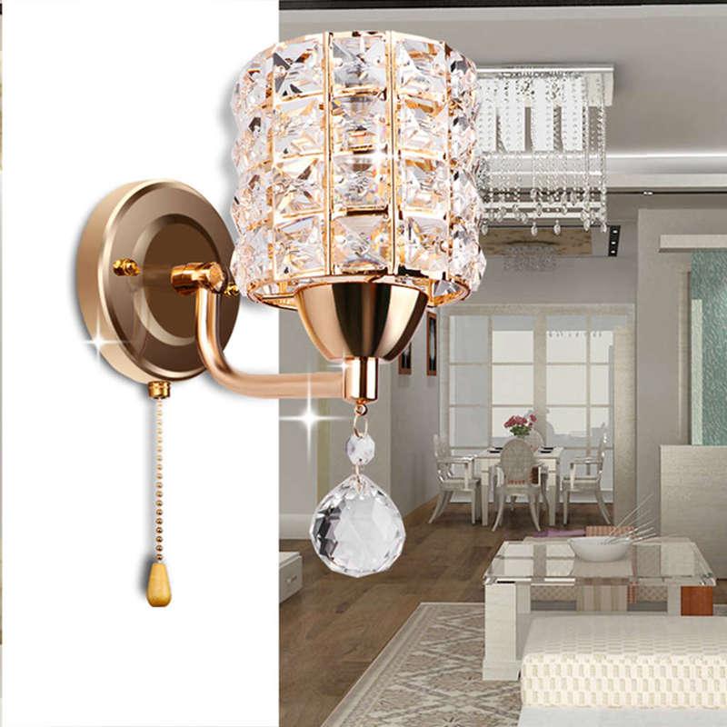 Moderne-Wand-Leuchte-Zylinder-Kristall-Halter-Mit-Anhaenger-Und-Zug-Schalter-E5U2 Indexbild 8