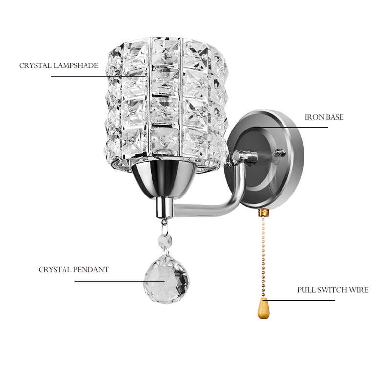 Moderne-Wand-Leuchte-Zylinder-Kristall-Halter-Mit-Anhaenger-Und-Zug-Schalter-E5U2 Indexbild 16