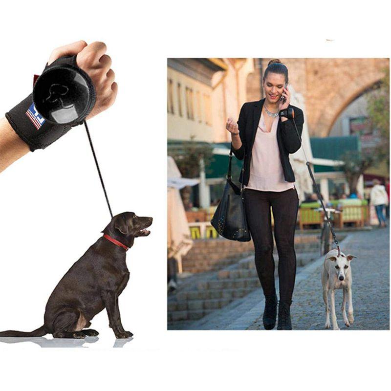 Laisse-de-chien-retractable-Avec-reglable-Poignet-Sangle-Main-libre-Chien-Z8K1 miniature 4