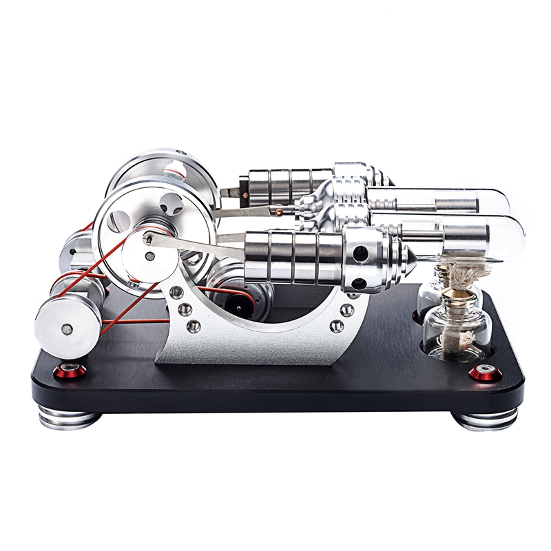 2X(Metal 2-Cylinder Double Parallel Bootable Hot Air Stirling Engine Model K2I2)