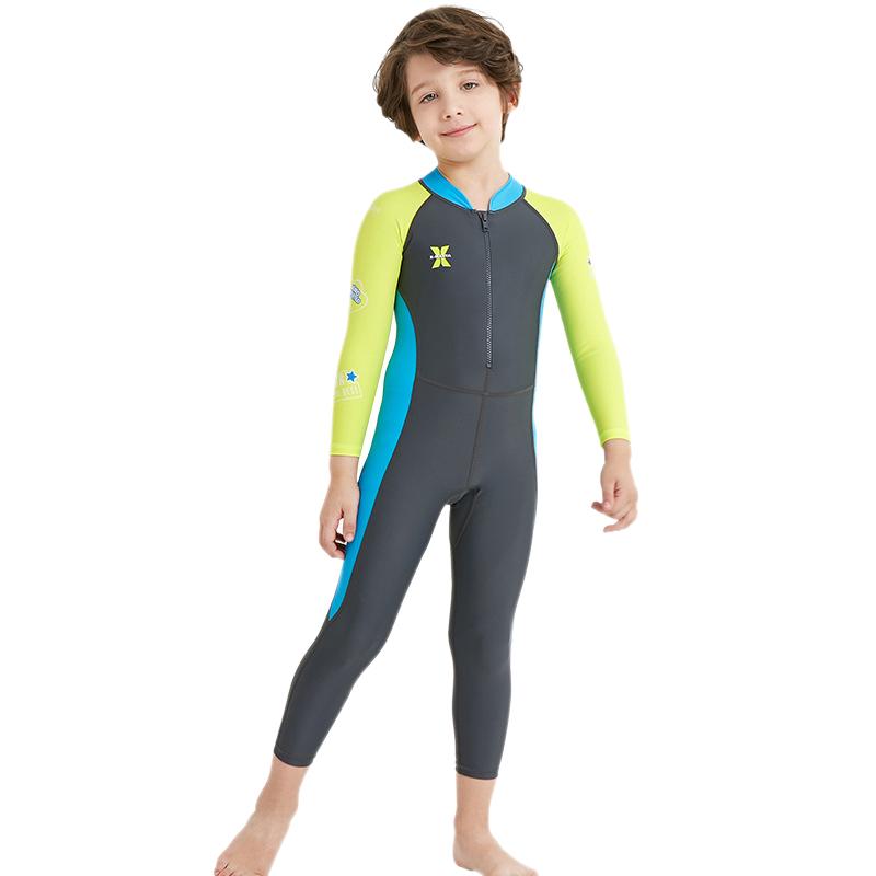 Dive-amp-Sail-Dark-Long-Sleeve-Wetsuit-Kids-One-Piece-Swimsuit-Diving-Suit-Boys-E2F8 thumbnail 3