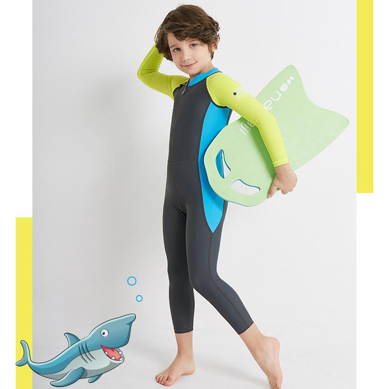 Dive-amp-Sail-Dark-Long-Sleeve-Wetsuit-Kids-One-Piece-Swimsuit-Diving-Suit-Boys-E2F8 thumbnail 4