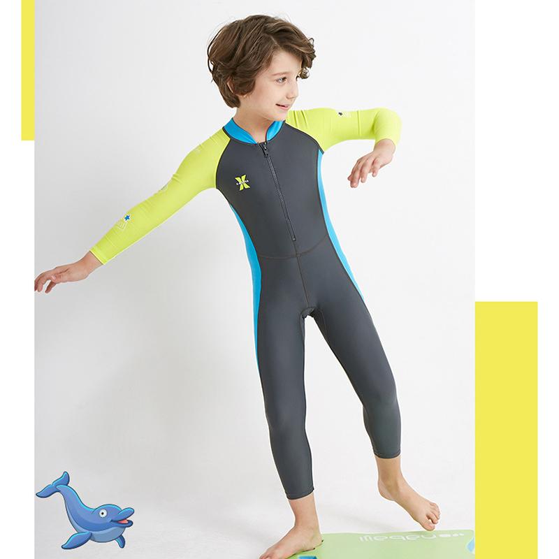 Dive-amp-Sail-Dark-Long-Sleeve-Wetsuit-Kids-One-Piece-Swimsuit-Diving-Suit-Boys-E2F8 thumbnail 5