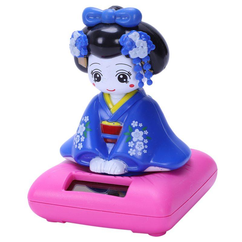 2X-Figura-Di-Giocattolo-Bobblehead-Ad-Energia-Solare-Kimono-Giapponese-Mai-G8M7 miniatura 2