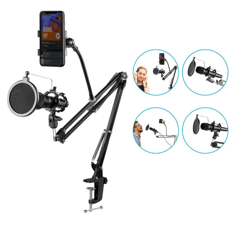 Adjustable-Recording-Microphone-Suspension-Boom-Scissor-Arm-Stand-Mic-Wind-N9F6 thumbnail 2