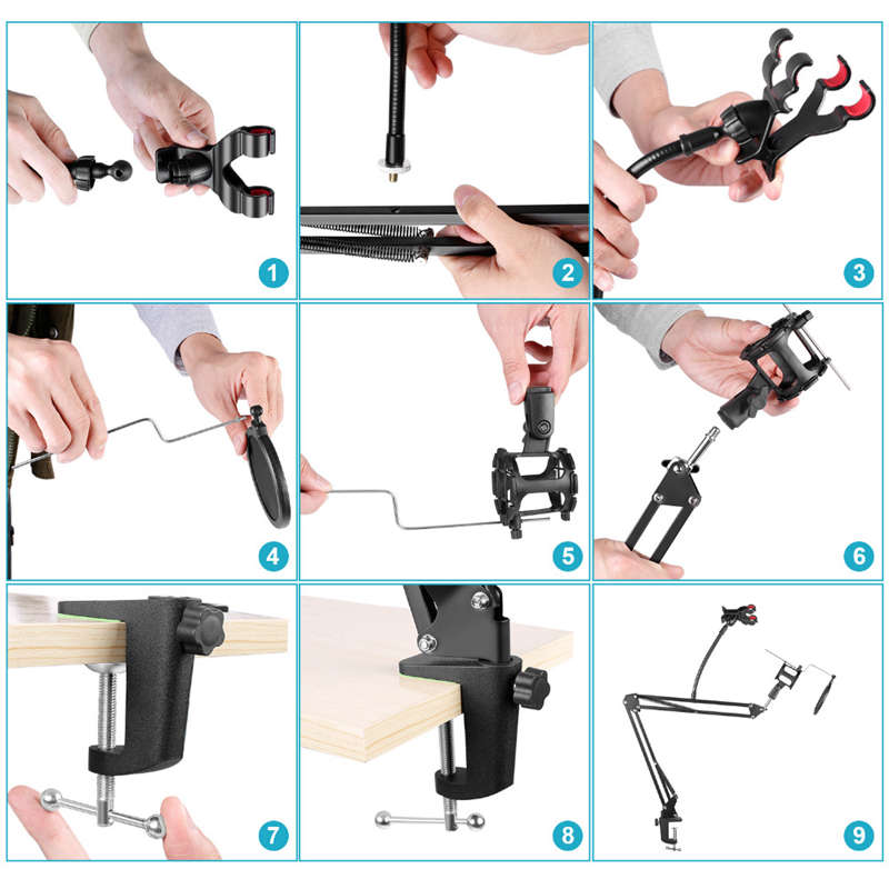 Adjustable-Recording-Microphone-Suspension-Boom-Scissor-Arm-Stand-Mic-Wind-N9F6 thumbnail 7