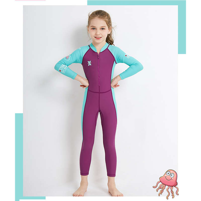 Dive-amp-Sail-New-Long-Sleeve-Wetsuit-Kids-One-Piece-Swimsuit-Diving-Suit-Girls-V4D1 thumbnail 4