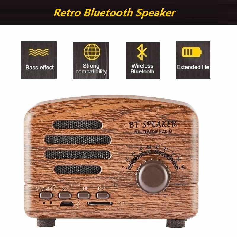 Altavoz-Retro-Bluetooth-Portatil-Mini-Altavoces-Con-Soporte-Para-Tarjeta-Tf-8L6 thumbnail 3