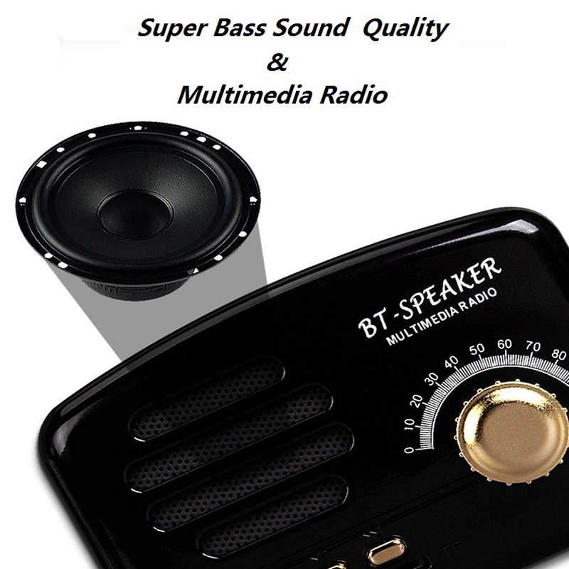 Altavoz-Retro-Bluetooth-Portatil-Mini-Altavoces-Con-Soporte-Para-Tarjeta-Tf-8L6 thumbnail 12
