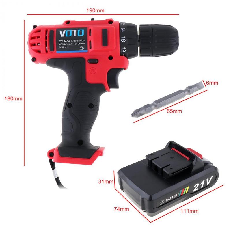 1X-VOTO-Vt104-Ac-100-240V-Sin-Cable-21V-Destornillador-Taladro-Electrico-X7W9 miniatura 7