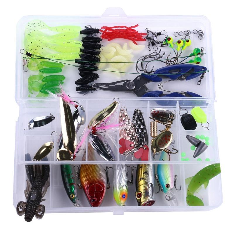 15X (100Pcs Kit Set Spinner Señuelos Minnow suave duro Cuchara Manivela Cebos Pesca 5E6)
