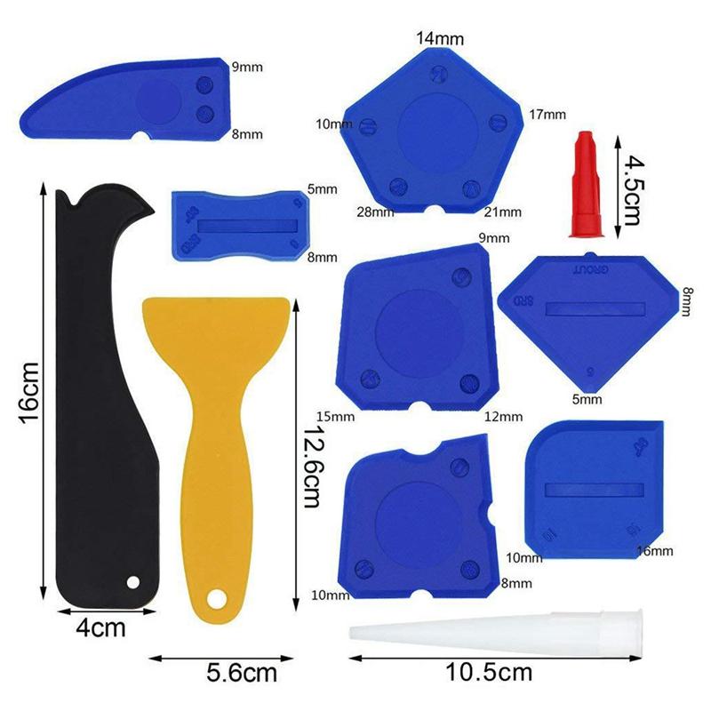 miniatuur 13 - 5X(17 Pieces Caulking Tool Kit Silicone Sealant Finishing Tool Grout Scraper C K