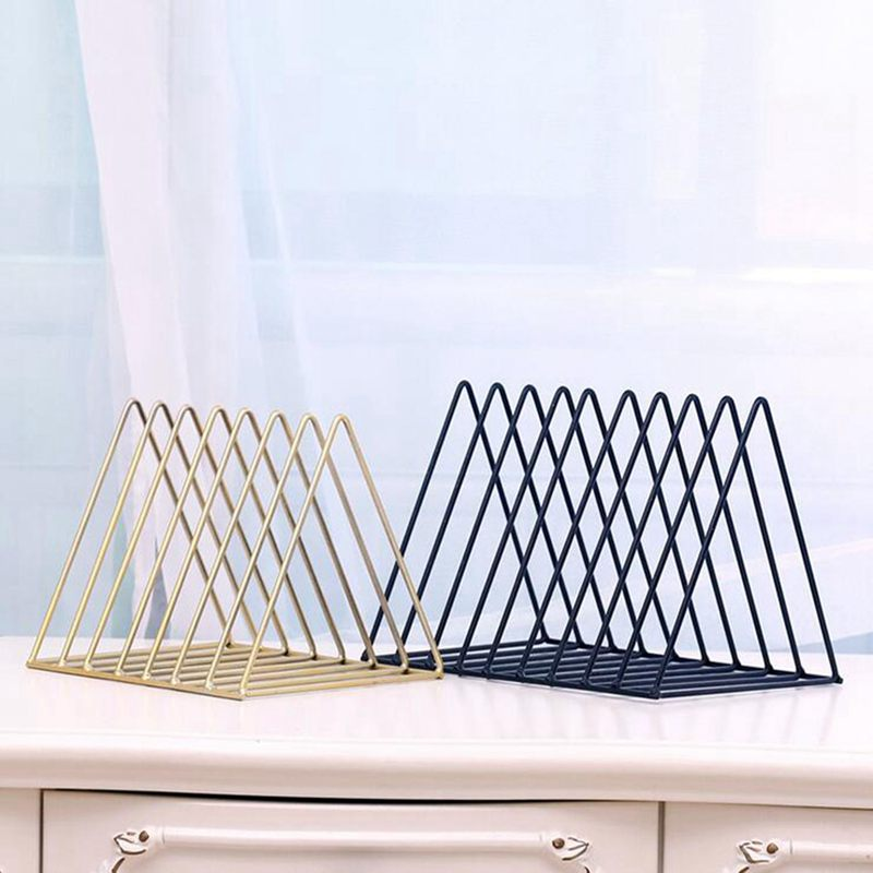Iron-Triple-cornered-Bookshelf-Desktop-Newspaper-Rack-Home-Office-Desktop-F-L9W5 miniature 5