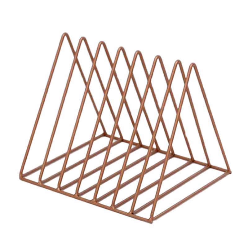 Iron-Triple-cornered-Bookshelf-Desktop-Newspaper-Rack-Home-Office-Desktop-F-W2S8 miniature 14