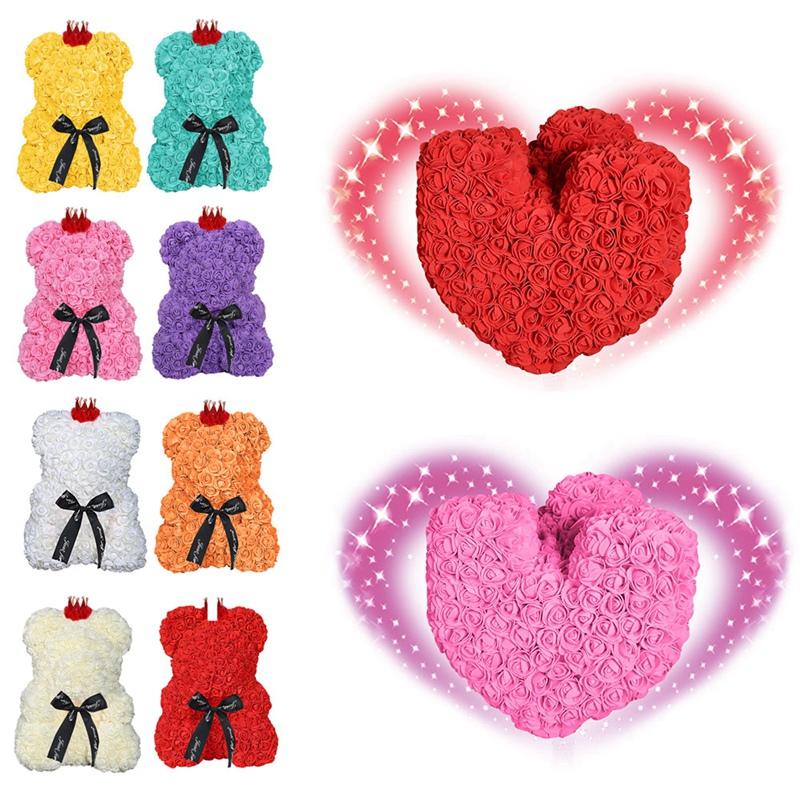 25-Cm-Ours-De-Fleurs-Roses-Ours-En-Peluche-Avec-Couronne-Cadeau-De-Mariage-I9V5 miniature 12
