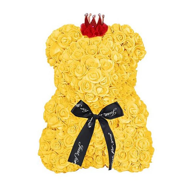 25-Cm-Ours-De-Fleurs-Roses-Ours-En-Peluche-Avec-Couronne-Cadeau-De-Mariage-I9V5 miniature 32