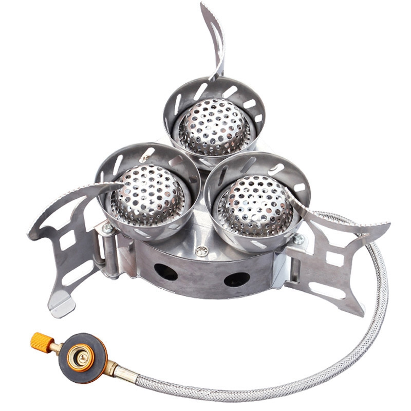 Outdoor Three Chambers Cooker Portable Folding Camping Fierce Fire Stove Pi U7V4