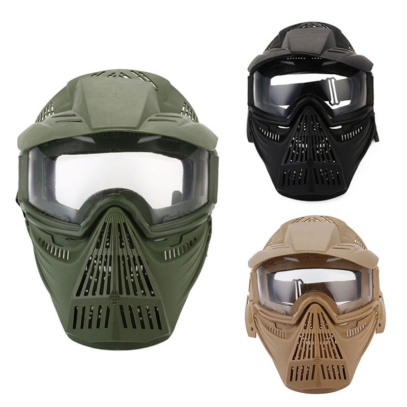 8X(Tactical Outdoor Lens Mask Full Face Breathable Cs Hunting Military Army H5M9