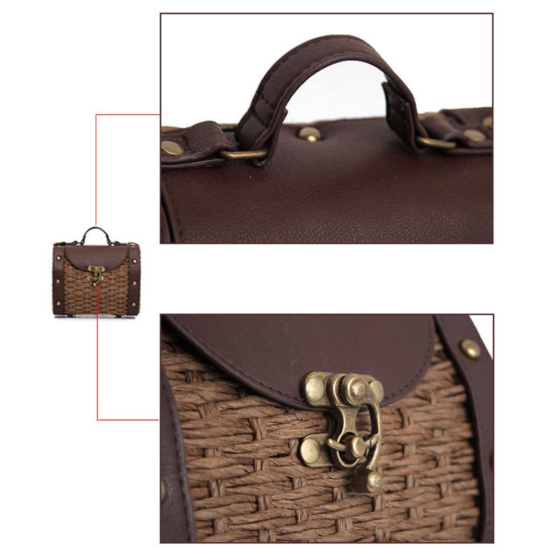 Sacs-En-Rotin-Pour-Femme-Sacs-A-Bandouliere-Concepteur-Vintage-Sacs-A-Main-F1N8 miniature 12