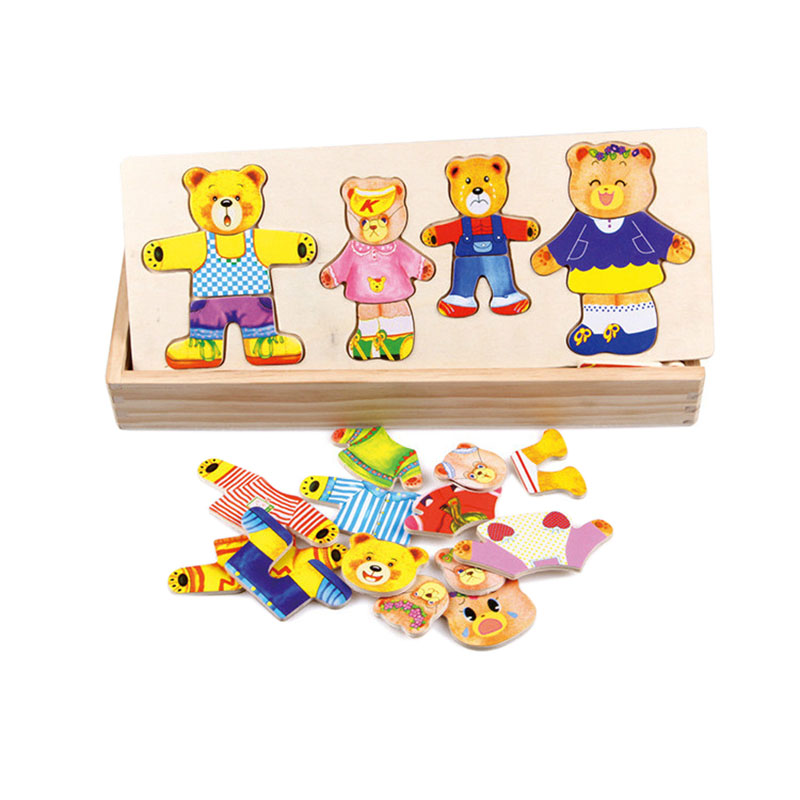 5X(träen bebis Bear Byter kläder Man Girl bebis Puzzle Tre-Diherri T