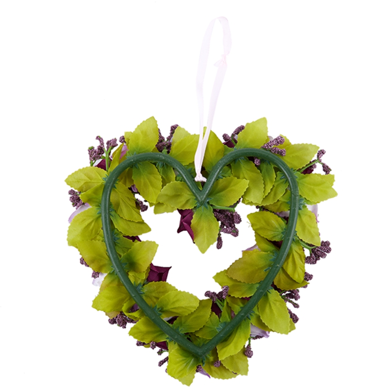 Heart-Shaped-Artificial-Flower-Wreath-Door-Decoration-Hanging-Wreaths-with-W6M2 thumbnail 13