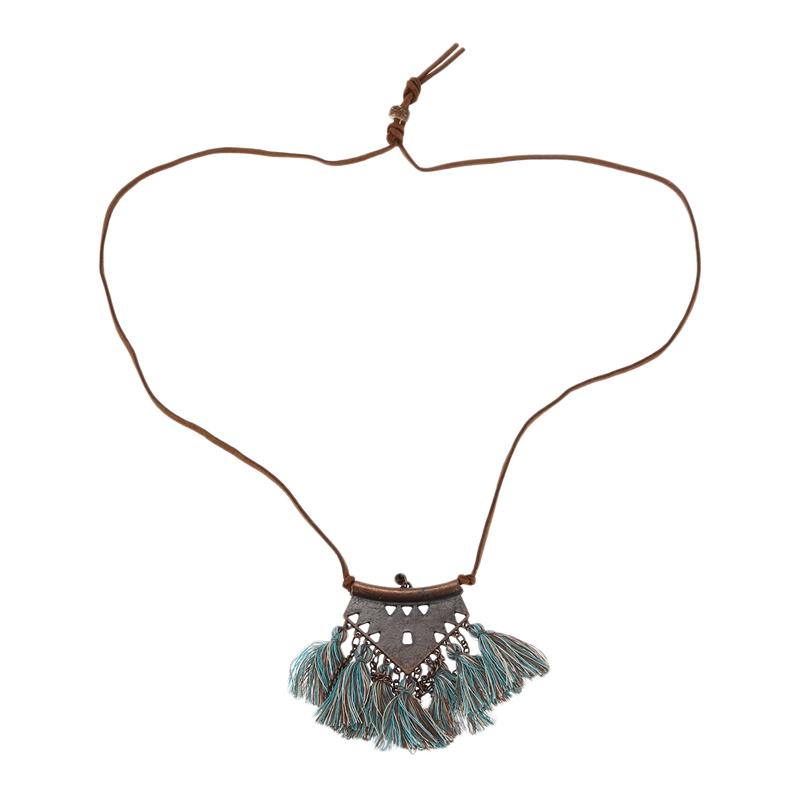 catena-del-maglione-collane-a-catena-ciondolo-in-pelle-Lungo-nappa-collane-M4B4 miniatura 4