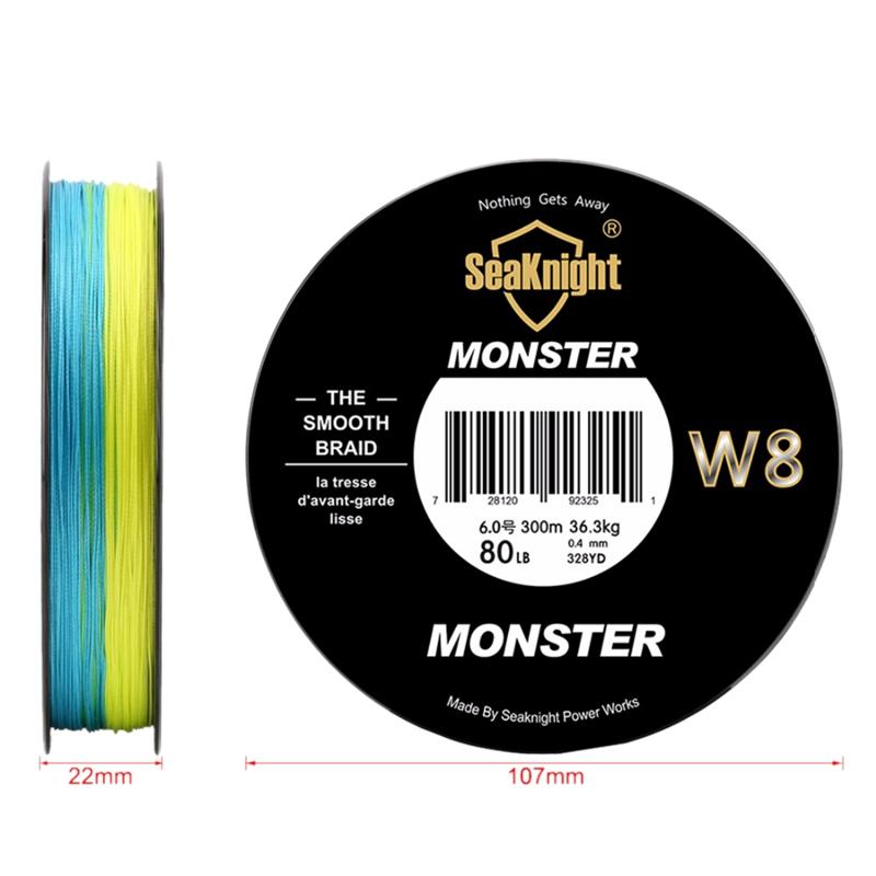 Seaknight-Monster-W8-Multicolor-300M-Braided-Pe-Fishing-Line-8-Strands-Mult-Z3O9 thumbnail 6