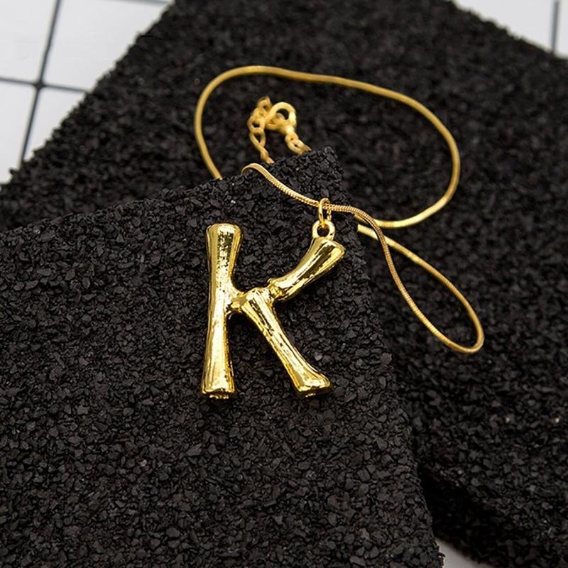Joya-Collar-De-Letra-Collar-Colgante-De-Cadena-De-Oro-Pendiente-De-Grande-L-Z6M8 miniatura 38