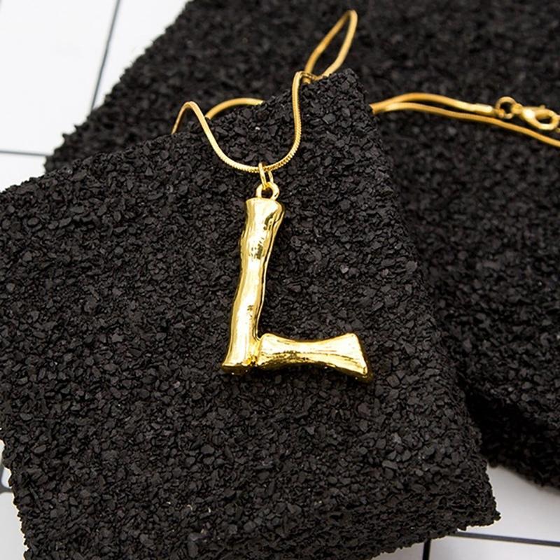 Joya-Collar-De-Letra-Collar-Colgante-De-Cadena-De-Oro-Pendiente-De-Grande-L-Z6M8 miniatura 45