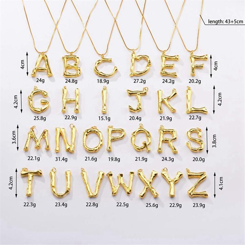 Joya-Collar-De-Letra-Collar-Colgante-De-Cadena-De-Oro-Pendiente-De-Grande-L-Z6M8 miniatura 46